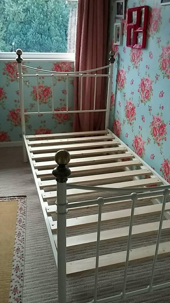 Girls cream single metal bed frame . No mattress. Near Malton   in ...