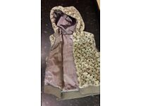 Girls Next Animal Print Fur zipped body warmer Gilet fully lined with hood,age 13-14,2 pockets