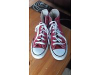 Red high top converse. Size 5.