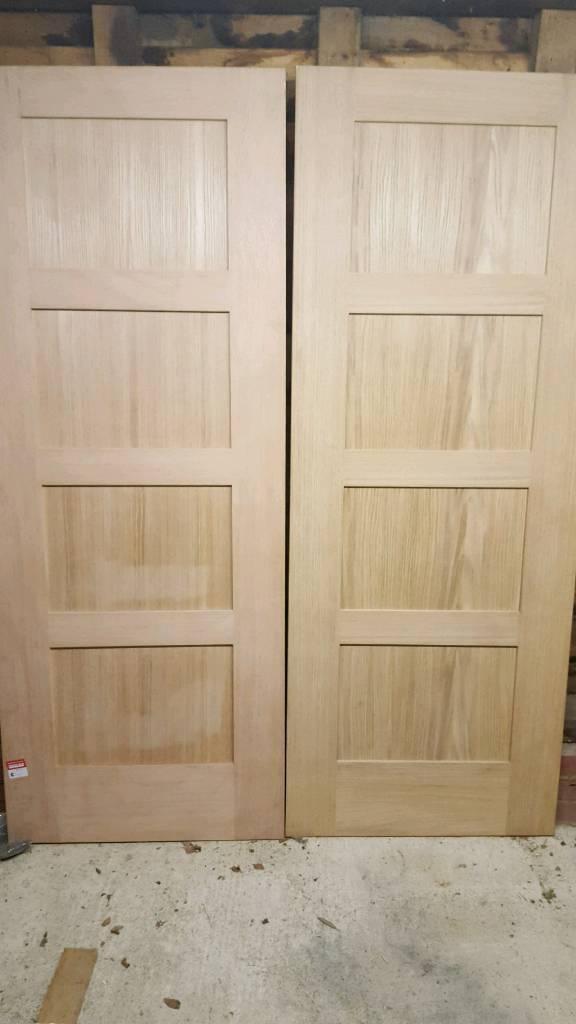 Pair of solid oak doors