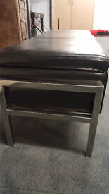End of bed storage black leather