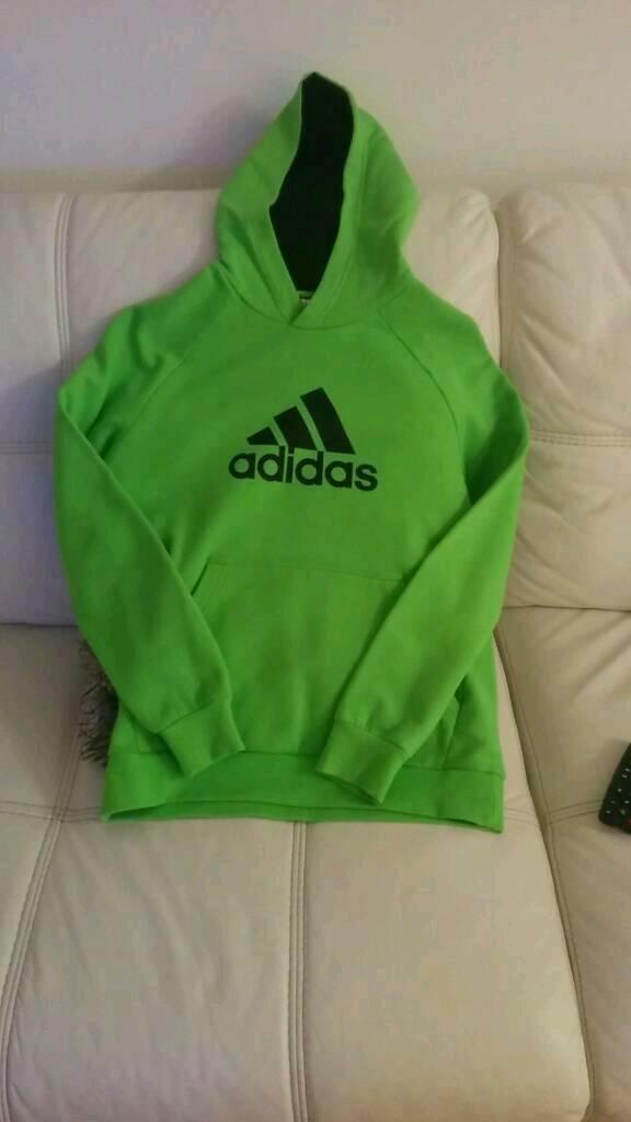 Adidas Boys Green Hoodie 13-14 years