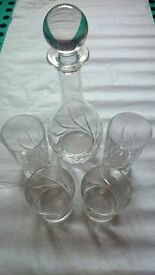 Beautiful, large Italian crystal decanter and matching glasses