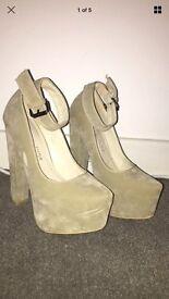 Cream suede platform heels Size 4