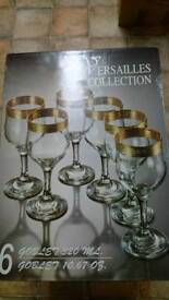 New 6 Crystal Wine Goblets