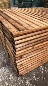 🎡Brown Flat Top Vertical Board Fence Panels