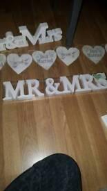 Wedding Mr & Mrs wooden block sign