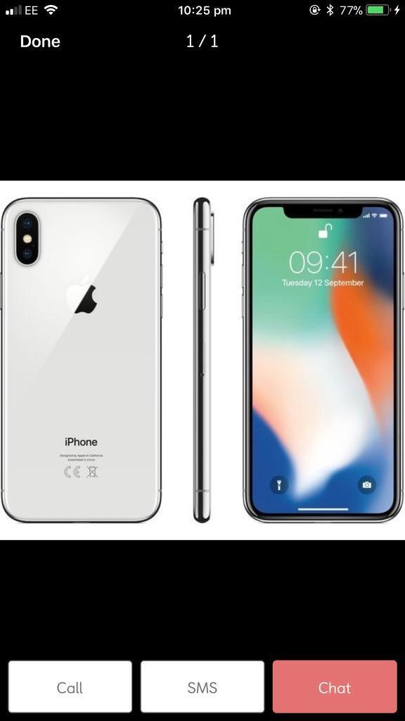 Apple iPhone X, 64g in Silver
