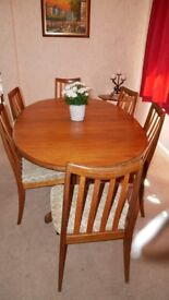 G Plan Teak Oval Dining Table and 6 Chairs