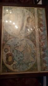 VINTAGE world framed maps