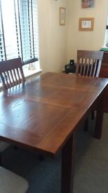 Beautiful dark oak dining table with 6 chairs, 90 x 120 but extends too 160