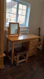 Tokyo Natural Solid Oak Dressing Table Set / Desk, Mirror and Chair (Oak Furniture Land) . RRP £408