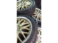 4 x 8 stud alloys with nearly new tyres