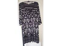 Next black/white design summer dress, never worn, brand new. black belt. beautiful on.