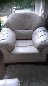 Large, cream leather armchair in vgc. Very comfortable but now too big for my small lounge.
