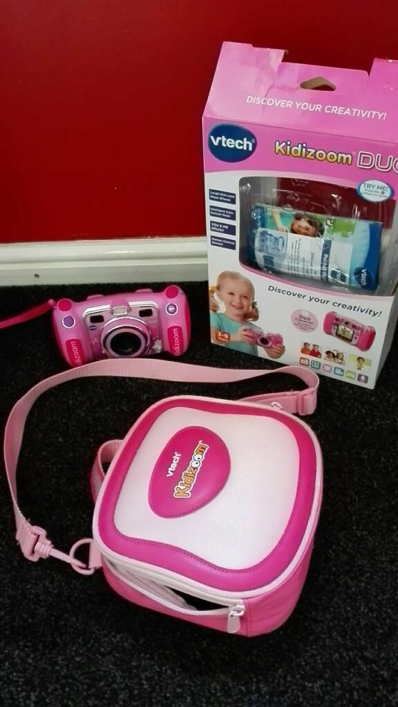 VTECH KIDIZOOM DUO PINK CAMERA AND CARRY CASE BAG LIKE NEW!!!