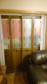 Pair of bifolding pine doors