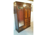 Large Victorian Burr Walnut Wardrobe