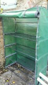 Green house with shelves