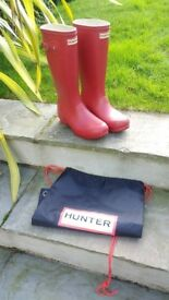 Hunter Wellies, Childs (Size 5) in Red