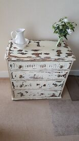 Heavily distressed shabby chic oak chest of drawers
