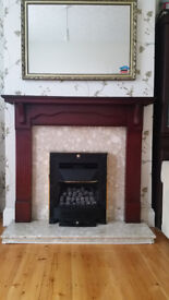 Two Fireplaces with marble hearth, and Flavel Gas fire