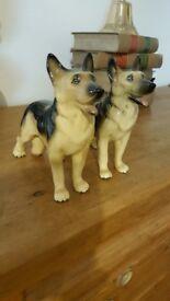 pair of Alsatian / German Shepherd dog ornaments
