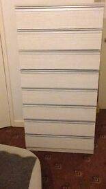 HIGH CHEST OF 8 DRAWERS GREY AND SILVER