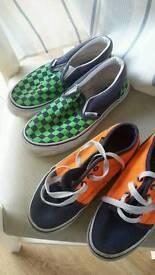 Vans Orange pair size 12 Green pair size 1