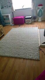 Large Ivory/cream shaggy rug 190cm x 133cm