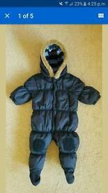 Next Baby boy 3 - 6 months blue padded snowsuit