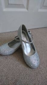 Size 1 beautiful silver party shoes