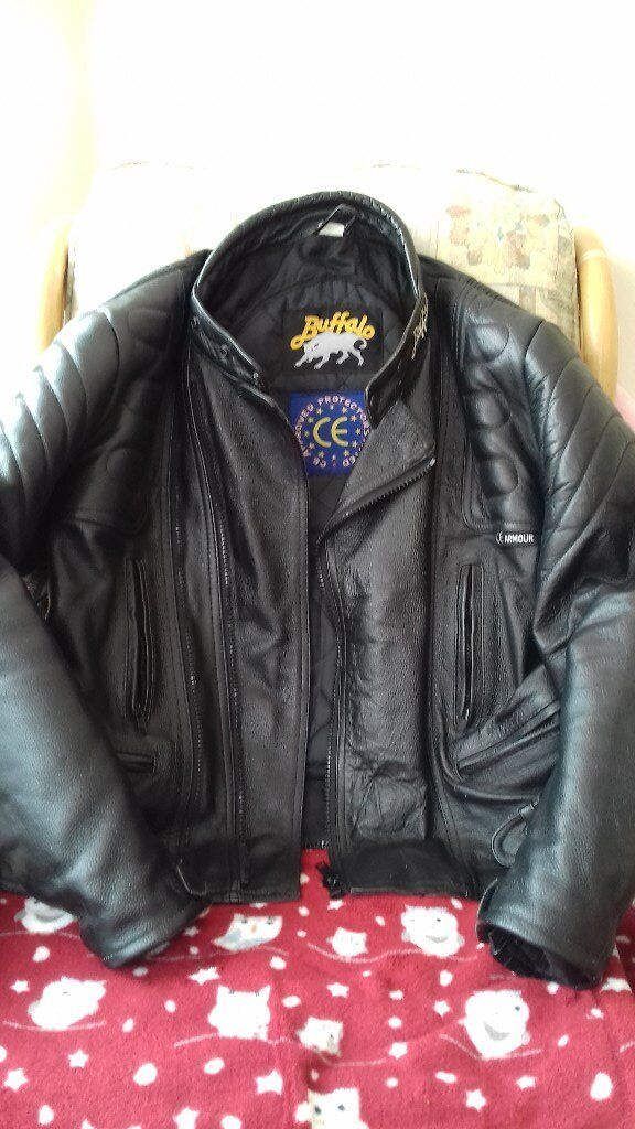 Leather motorcycle jacket and jeans