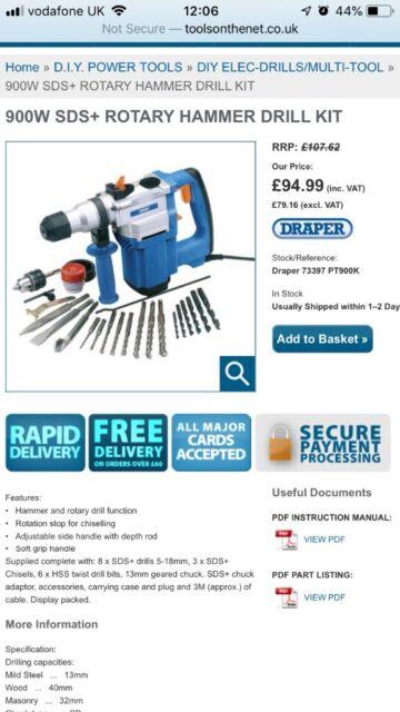 Draper Hammer Drill Kit 73397 SDS + Rotary in box | in Kentish Town, London  | Gumtree
