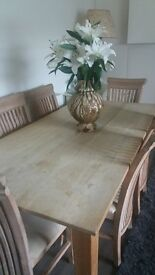 LARGE FARM HOUSE STYLE DINING TABLE & 6 HI BACK CHAIRS