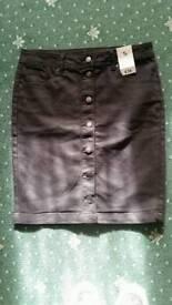 Black button up denim skirt