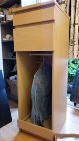 Ikea Malm Oak, chest if drawers altered as small wardrobe