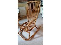 Cane/Wicker/Bamboo Rocking Chair, with matching Footstool Set. Excellent Cond