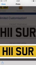 Cherished number plate H11 SUR