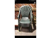 4 x green plastic garden chairs