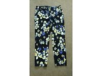 LADIES SUMMER FLORAL TROUSERS SIZE 14