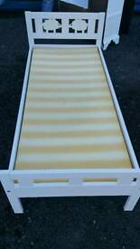 Wooden toddler bed with memory foam