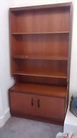 Teak bookcase with cupboard