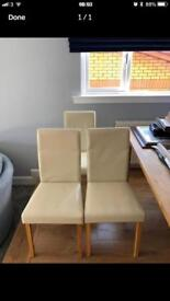 6 Cream Faux Leather Chairs