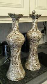 A pair of german unsual ceramic decrative vases/candle holders..