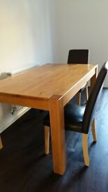 Oak Wood Finish Dining Table & Chairs