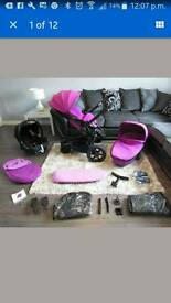 Quinny moodd pink travel system & maxi cosi car seat