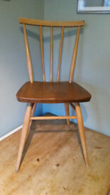 Vintage retro 60's Ercol Windsor stick back all purpose 391 chairs x4