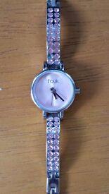 FCUK pink diamante bangle watch with original box/manual (needs new battery)
