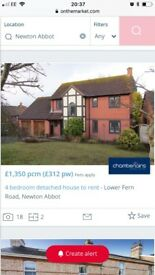 looking for a 3-4 bedroom house in kingsteighton, Newton Abbot